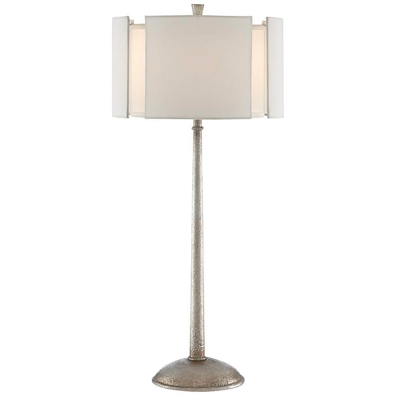 Currey and Company Fessura Textured Silver Leaf Table Lamp