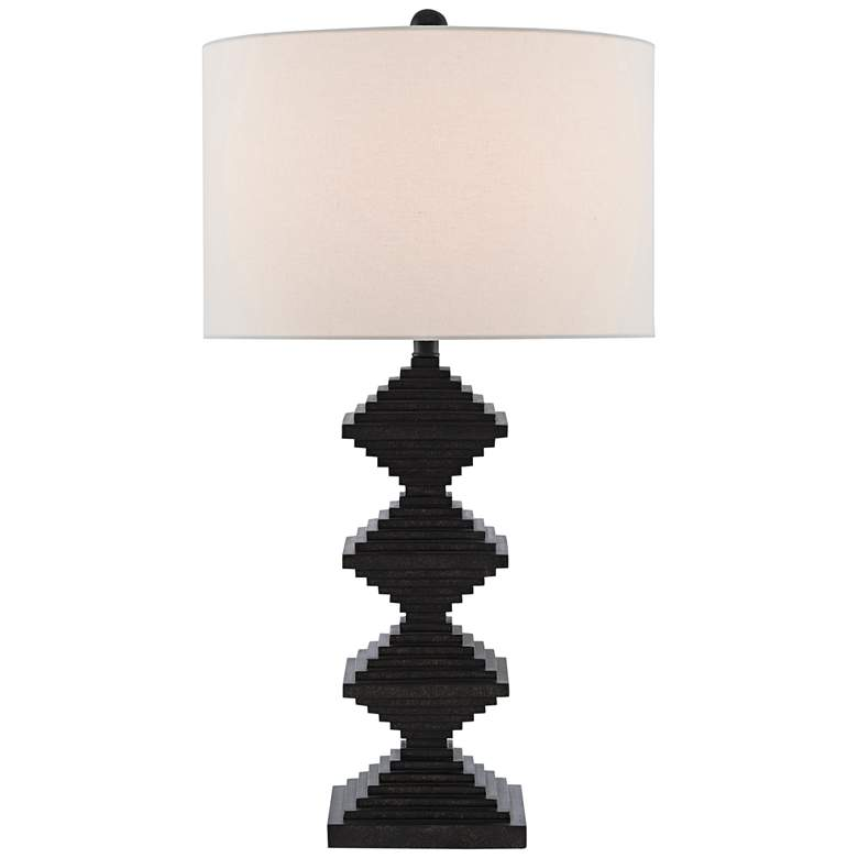 Currey and Company Pelor Mole Black Rhombus Table Lamp