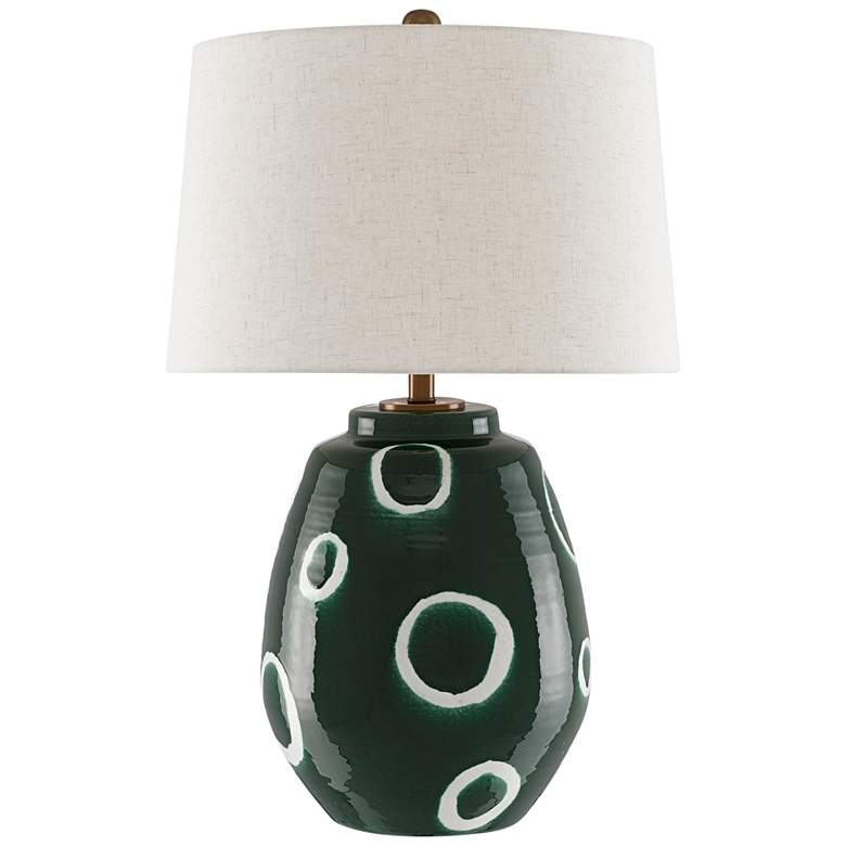 Gallus Green and White Terracotta Ginger Jar Table Lamp
