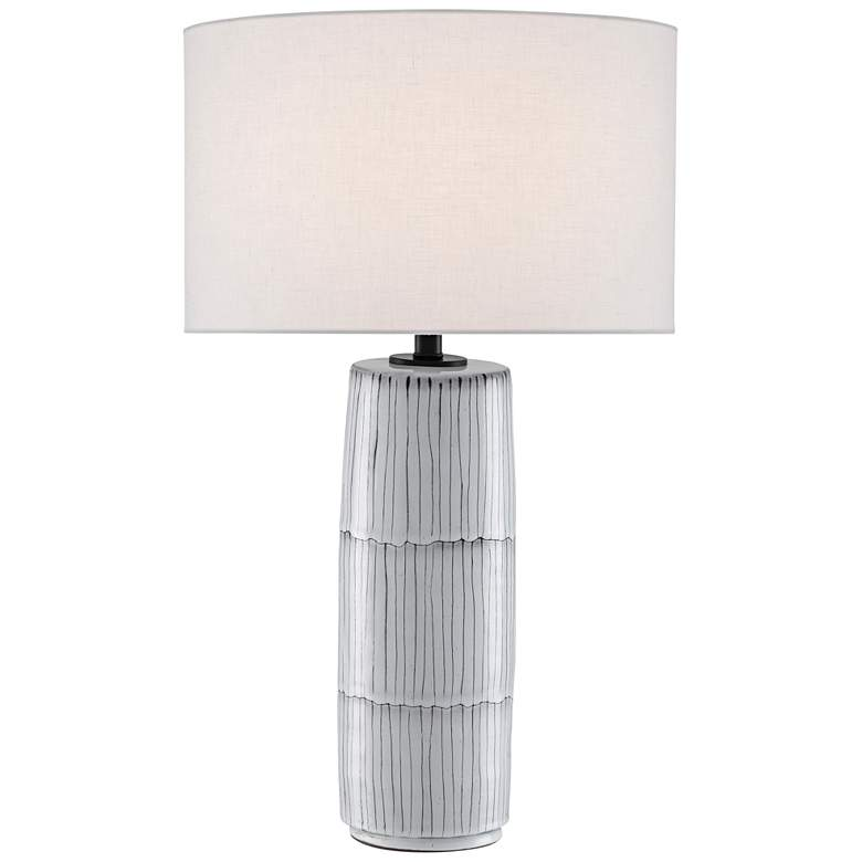 Chaarla Off-White and Gray Terracotta Column Table Lamp
