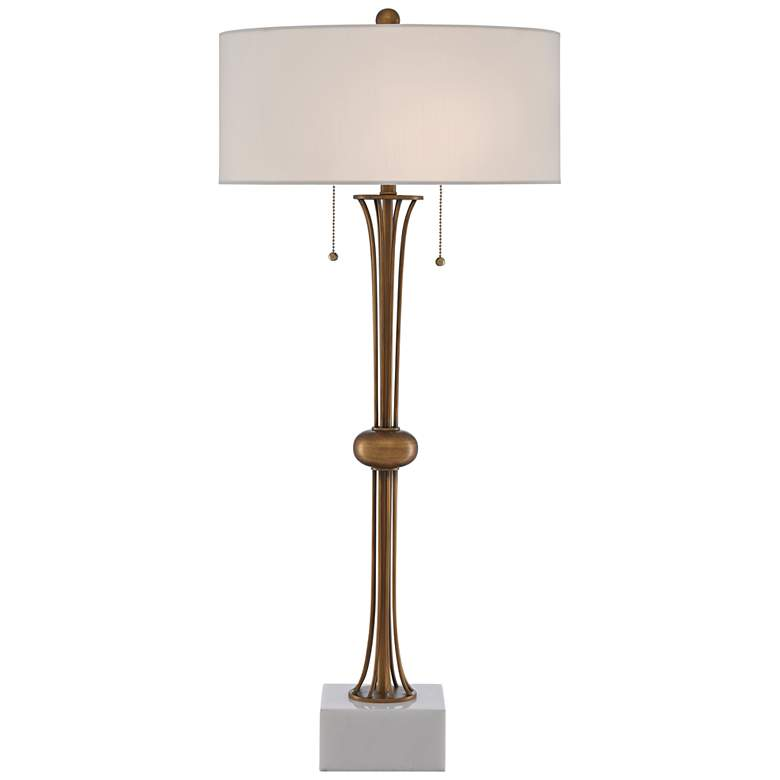 Currey and Company Abacus Antique Brass Metal Table Lamp