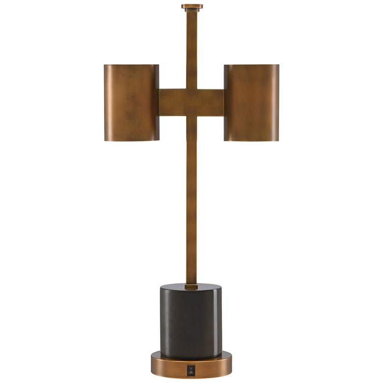 Currey and Company Kiseu Antique Brass and Black Table Lamp