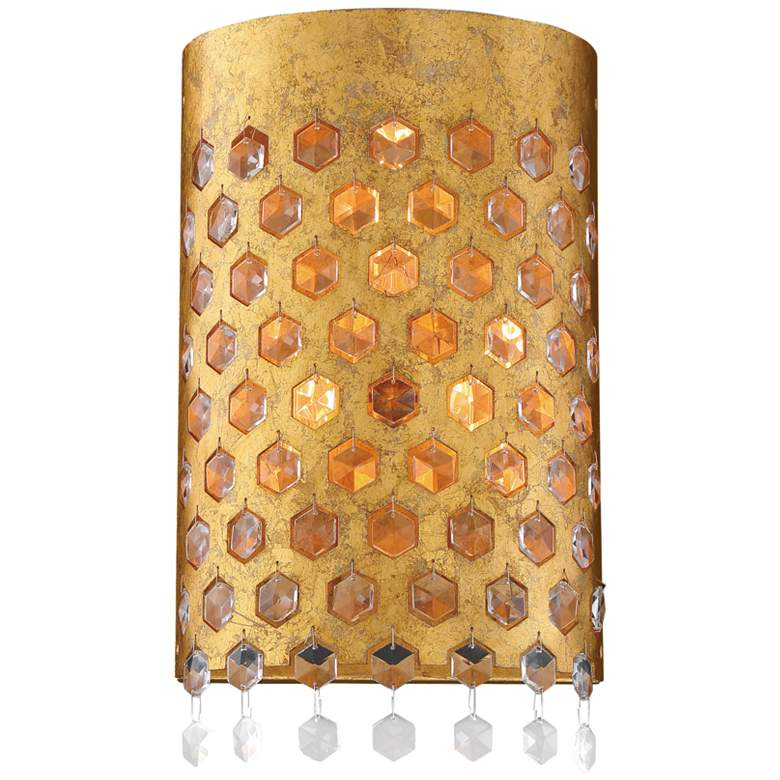 "Metropolitan Kingsmont 15"" High Glitz Gold Leaf Wall Sconce"