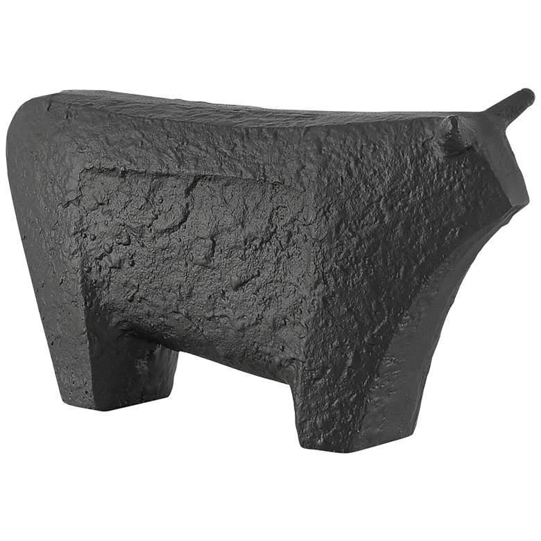 "Sampson Textured Matte Black 10 1/2"" Wide Bull Figurine"