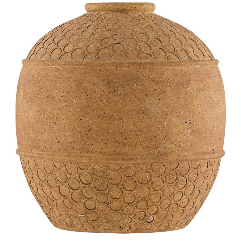"Currey and Company Lubao 12 3/4""H Speckled Terracotta Vase"