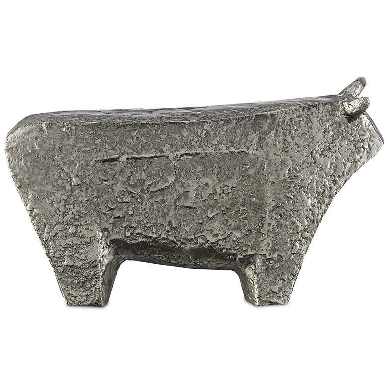 "Sampson Textured Silver 10 3/4"" Wide Bull Figurine"
