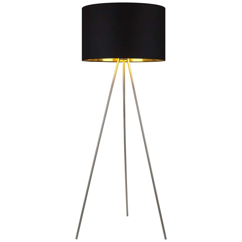 Lights Up! Weegee Metallic Black and Gold Tripod Floor Lamp