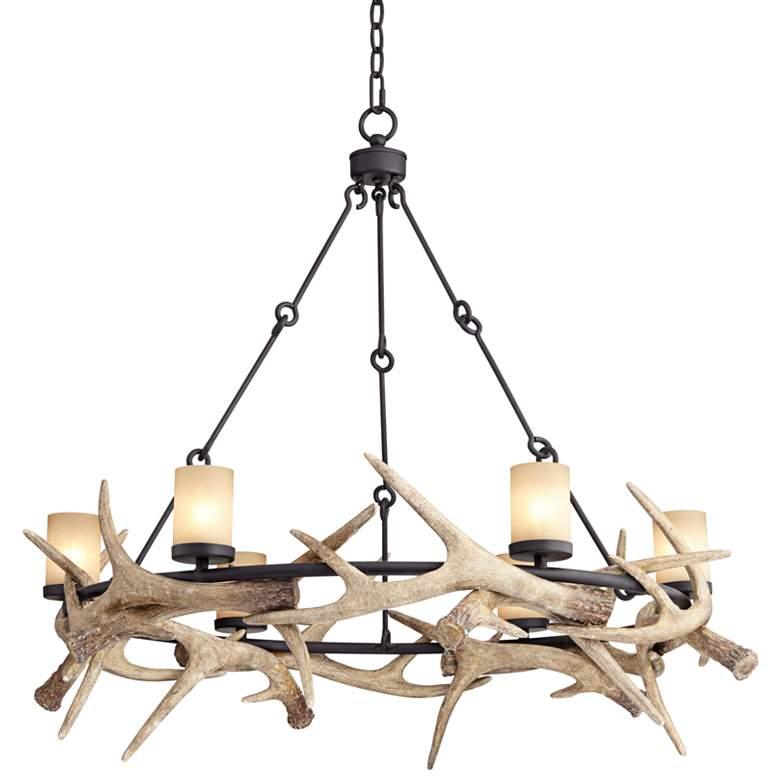 """Antler Lodge 36 3/4"""" Wide Rustic 6-Light LED Chandelier"""