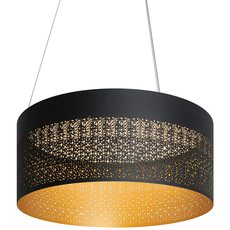 "Ash 20"" Wide Black and Gold LED Drum Pendant Light"