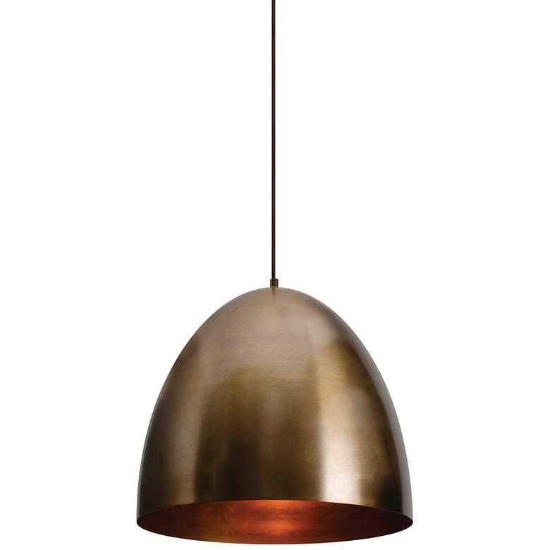 "Brooklyn 15 3/4"" Wide Antique Brass Metal Dome Pendant Light"