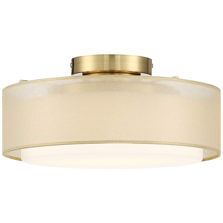 """Gold Dual Shade 12 1/2"""" Wide Drum Ceiling Light"""