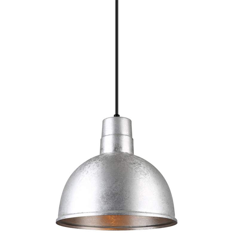 "Hi-Lite Deep Bowl Shade 12""W Galvanized Metal Mini Pendant"