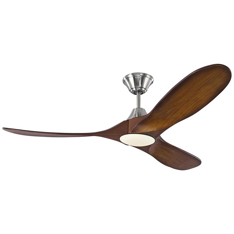 """52"""" Monte Carlo Maverick II Brushed Steel LED Ceiling Fan"""