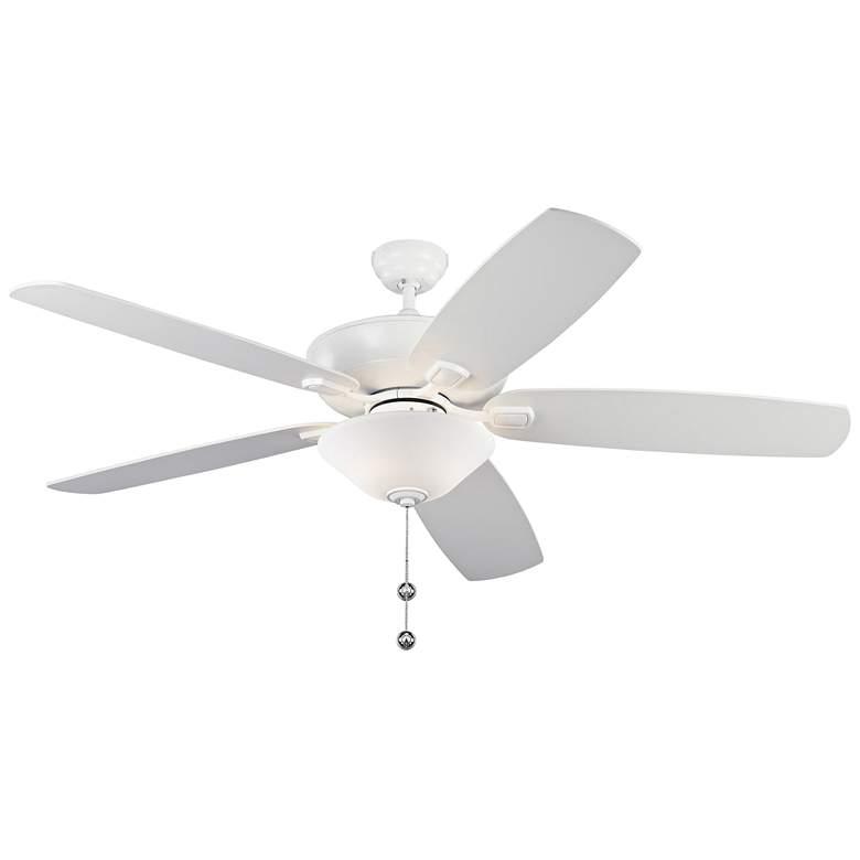 "60"" Colony Super Max Plus Matte White LED Damp Ceiling Fan"