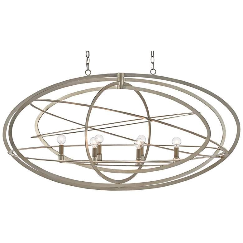 """Octavius 48 1/2"""" Wide Silver Leaf 6-Light Oval Chandelier"""