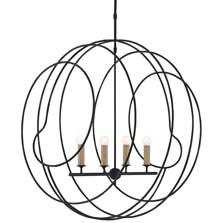 "Auden Orb 33 1/4"" Wide Antique Black 4-Light Chandelier"
