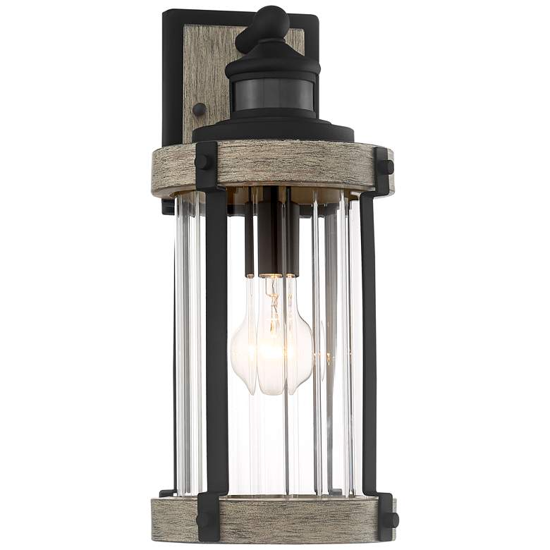 "Stan 15 1/2""H Black Wood Motion Sensor Outdoor Wall Light"