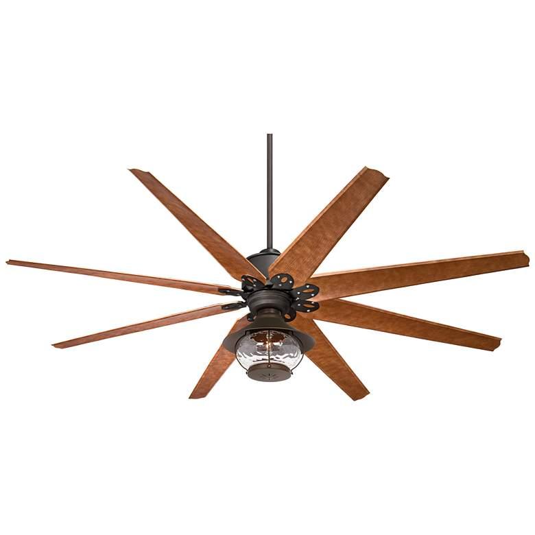 "72"" Predator English Bronze Lantern Outdoor LED Ceiling Fan"