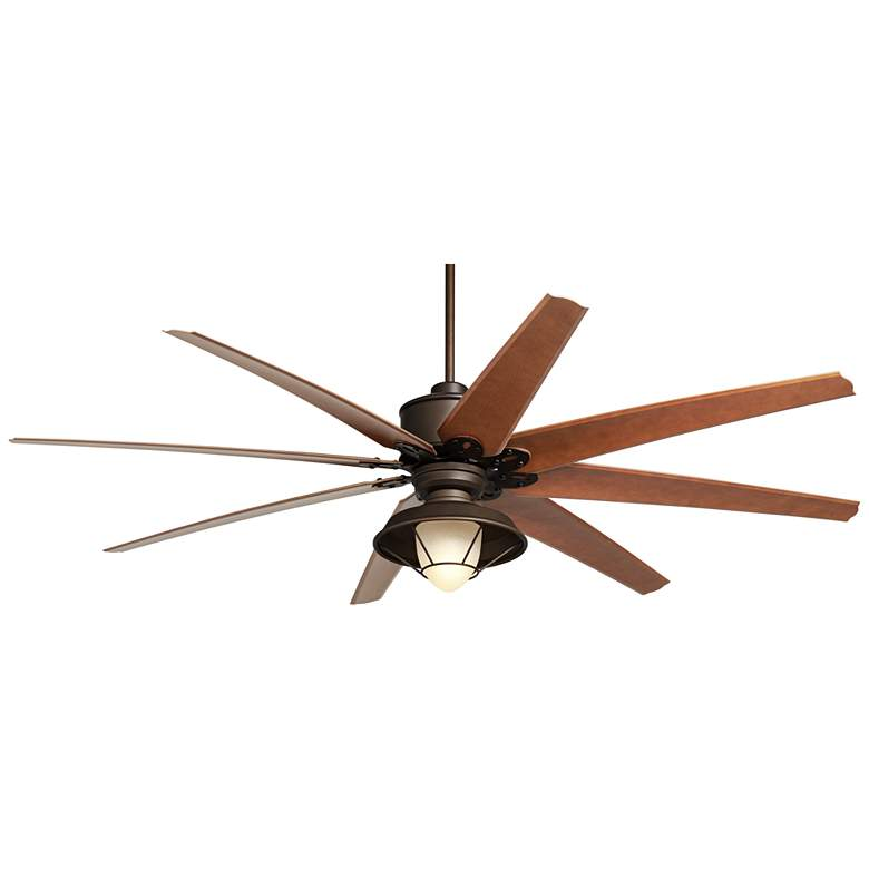 """72"""" Predator Bronze And Hooded Glass Outdoor LED Ceiling Fan"""