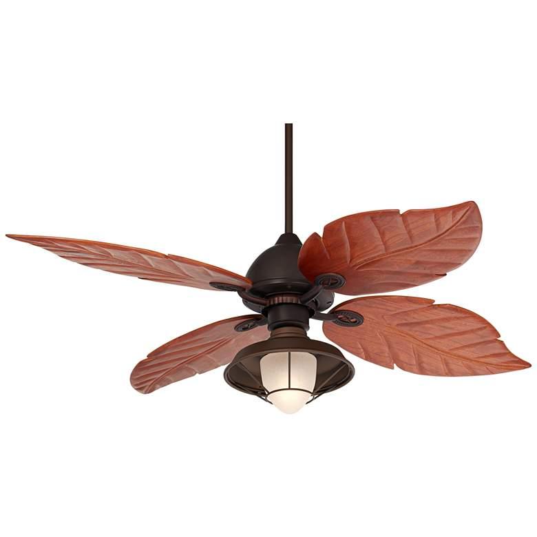 """60"""" Casa Oak Creek Frosted Glass Damp LED Ceiling Fan"""