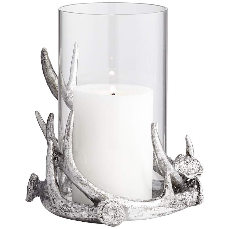 Abie Silver Antler Candle Holder with Glass Tube