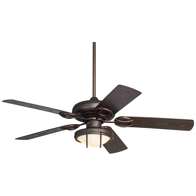"52"" Casa Vieja Orb Bronze and White Glass LED Ceiling Fan"