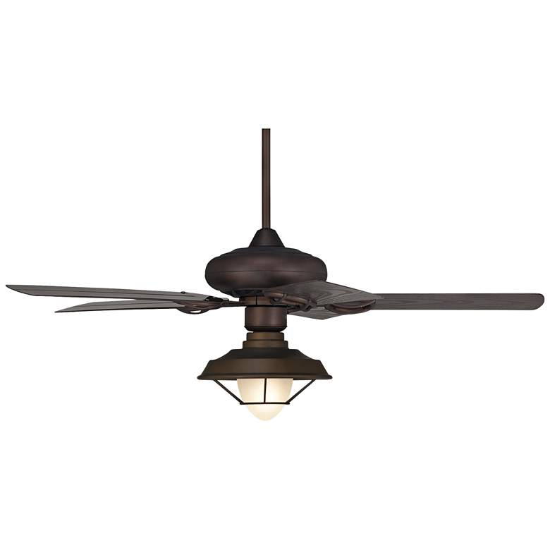 "52"" Casa Vieja Bronze Caged Glass LED Outdoor Ceiling Fan"