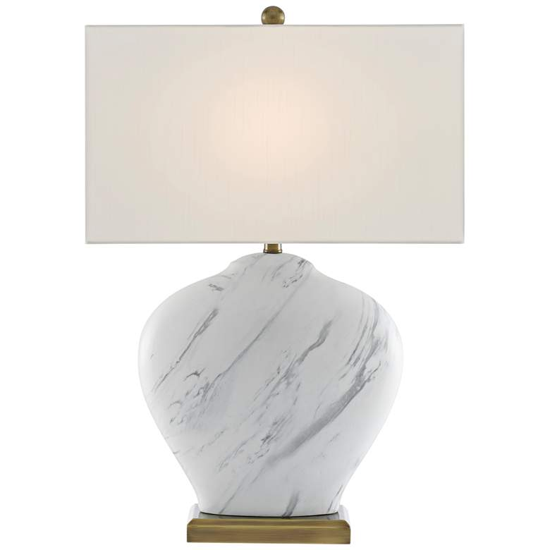 Currey and Company Swainely White and Gray Table Lamp