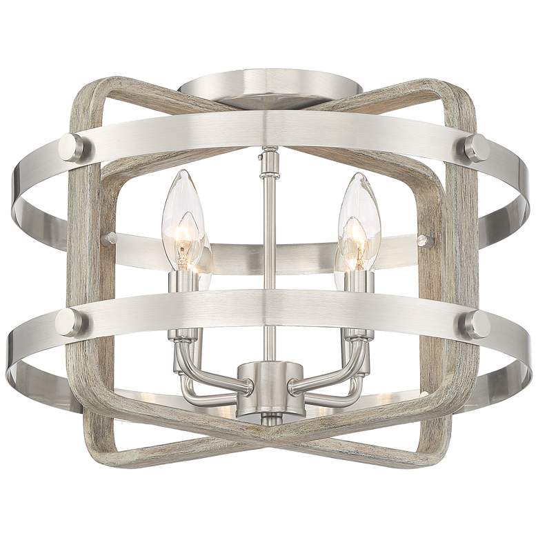 """Woodway 15 3/4""""W Brushed Nickel and Wood Grain Ceiling Light"""