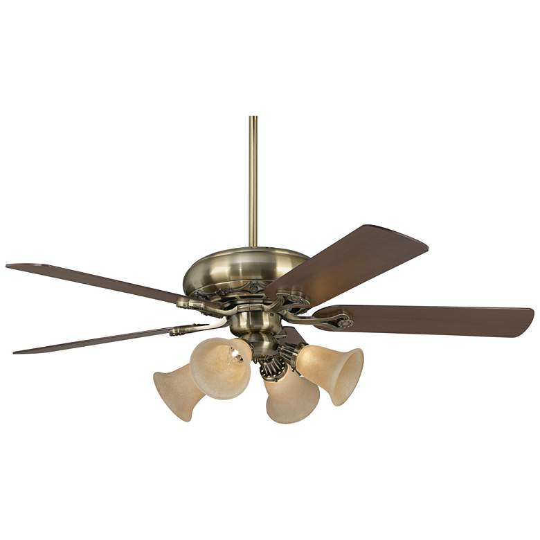"""52"""" Casa Trilogy Brass and Amber Glass LED Ceiling Fan"""