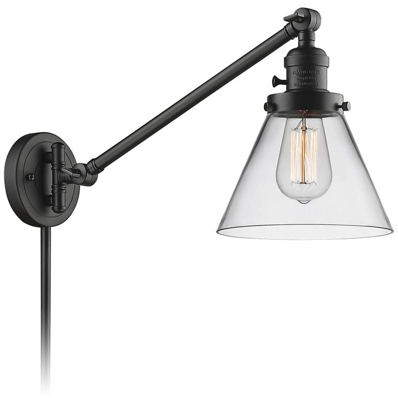 Large Cone Oil-Rubbed Bronze Glass Swing Arm Wall Lamp