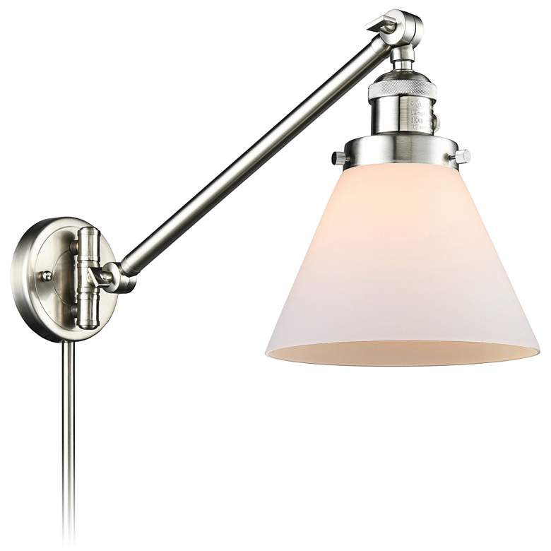 Large Cone Brushed Satin Nickel Swing Arm Wall