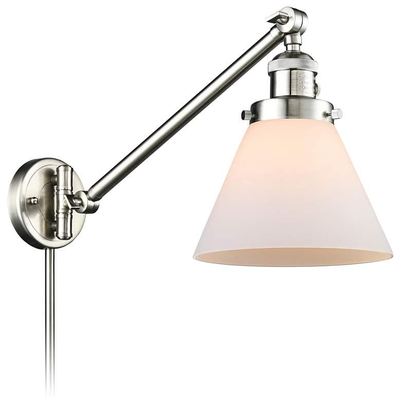 Large Cone Brushed Satin Nickel Swing Arm Wall Lamp