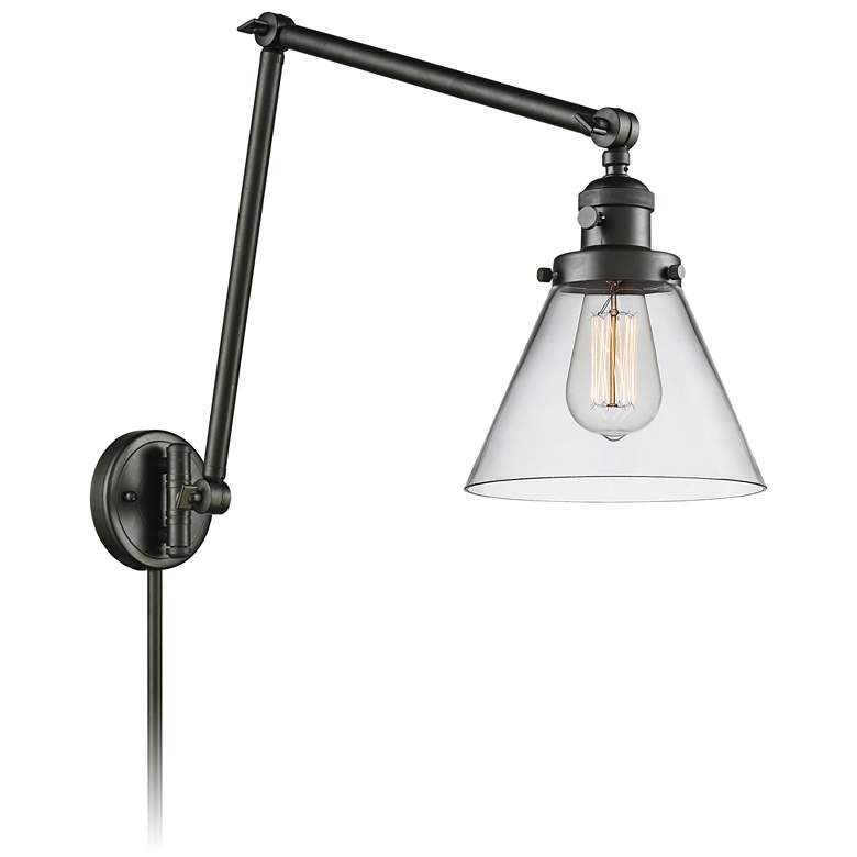 Large Cone Oil-Rubbed Bronze Joint Swing Arm Wall Lamp