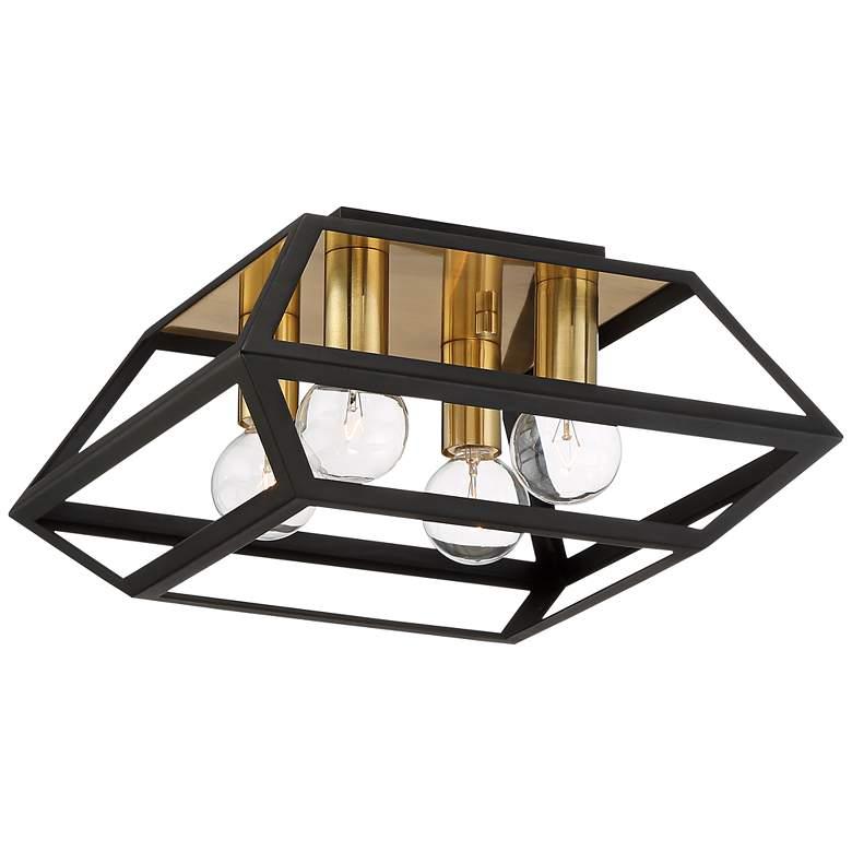 """Possini Euro Zavalla 11""""W Black and Gold Prism Ceiling Light"""