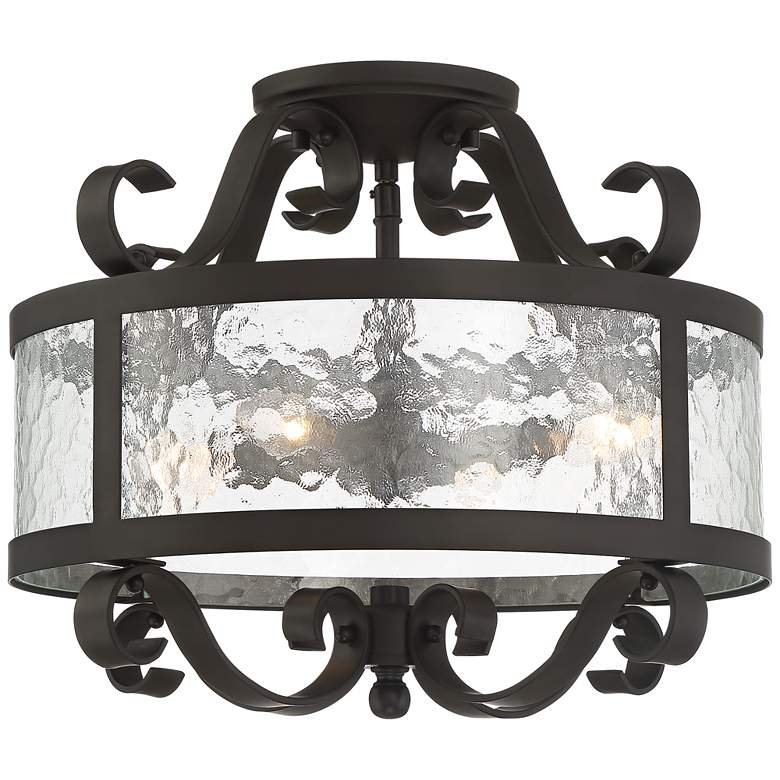 """Ebro 16 1/2"""" Wide Water Glass and Bronze Ceiling Light"""