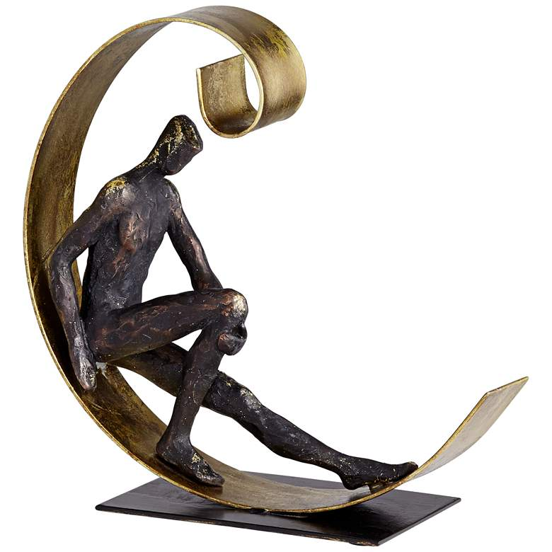 """Man Relaxing In Semi Circle 9 1/2""""H Copper and Gold Statue"""
