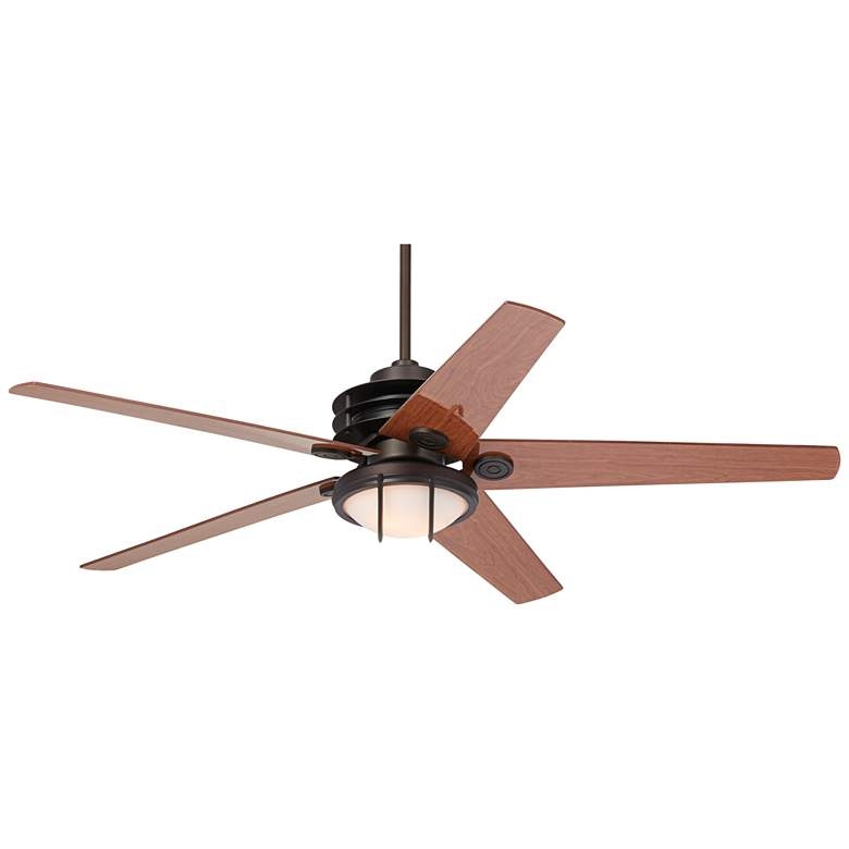 "60"" Casa Venue Bronze and White Glass Damp LED Ceiling Fan"