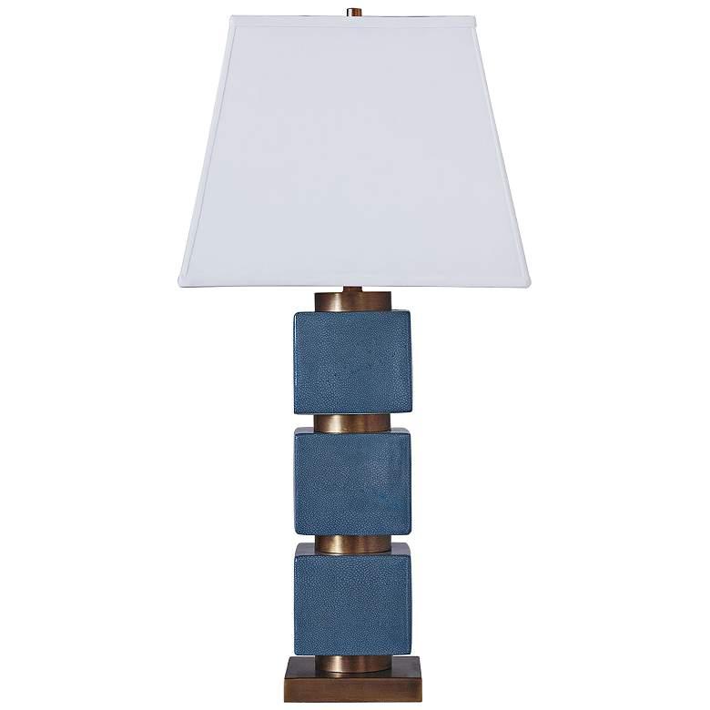 Port 68 Sydney Blue Sea And Antique Patina Column Table Lamp