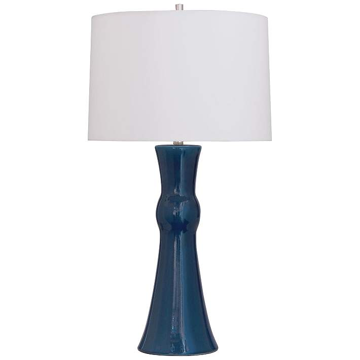 Port 68 Newport Rich Navy Blue Porcelain Column Table Lamp