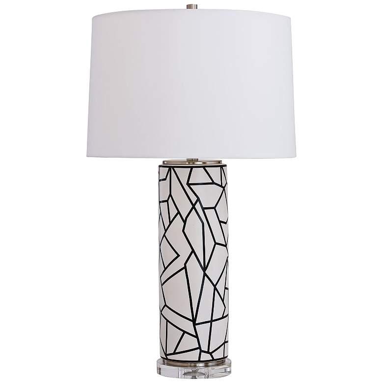 Port 68 Graphix Black and White Geometric Column Table Lamp