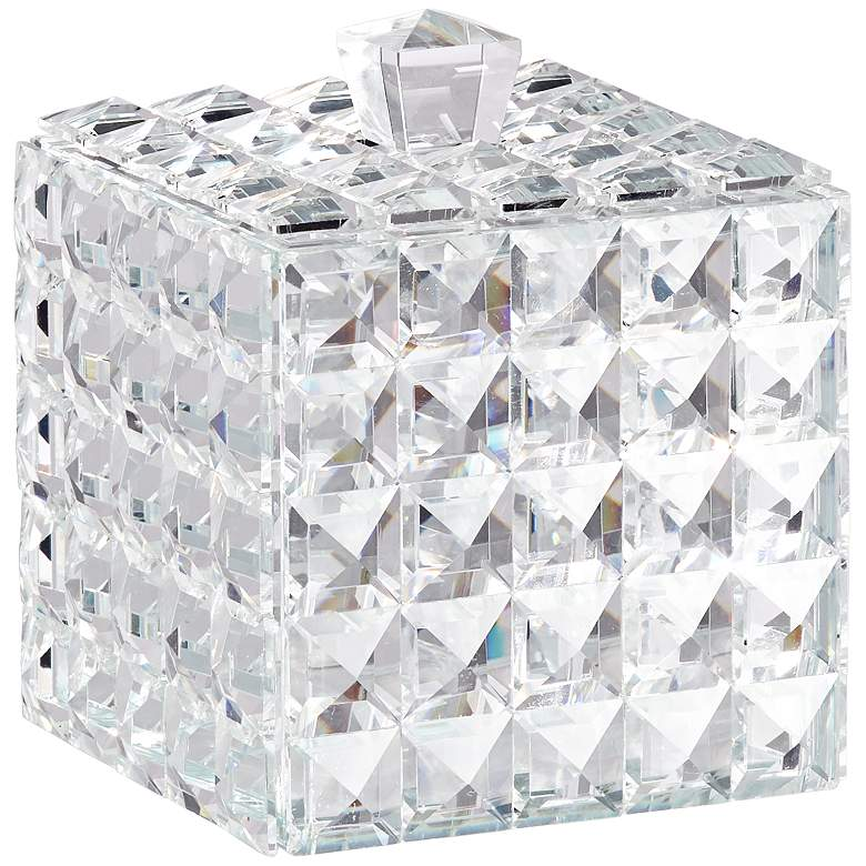 "Katrina 5 1/4"" High Faceted Clear Glass Crystal Jewelry Box"