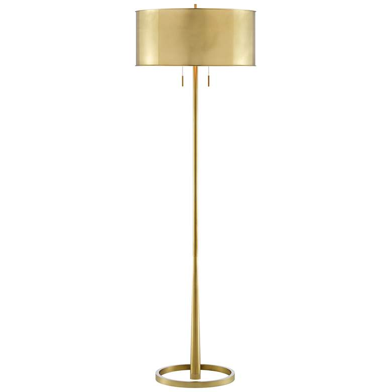 Babbit Brushed Brass w/ Polished Brass Metal Stem Floor Lamp