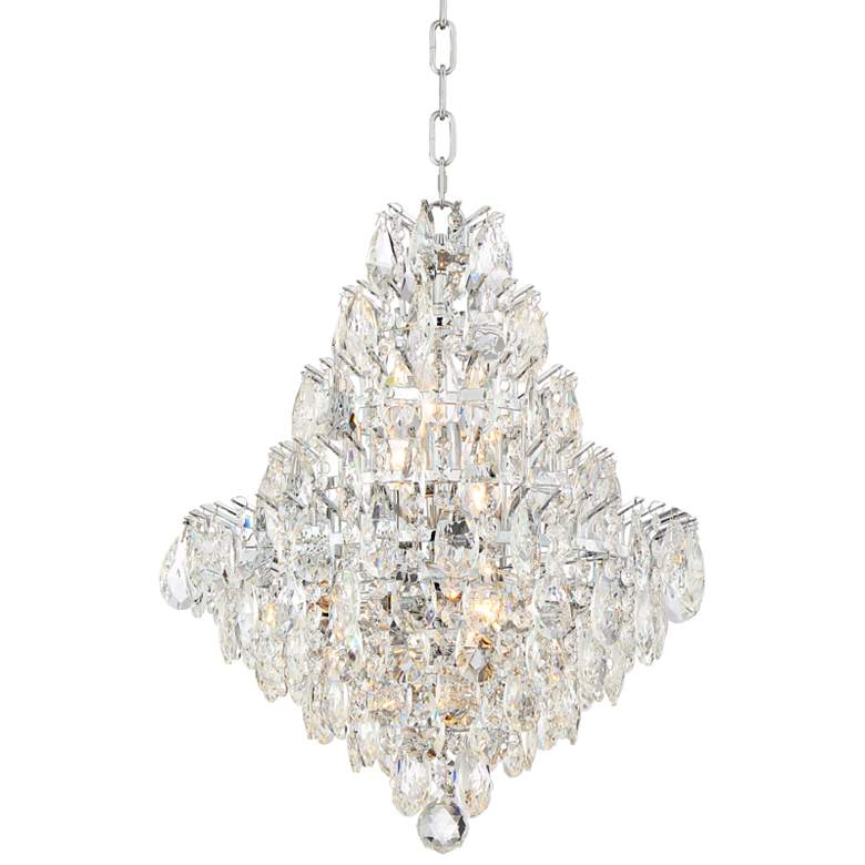 """Valentina 16 1/2"""" Wide Chrome and Crysta 10-Light Chandelier"""