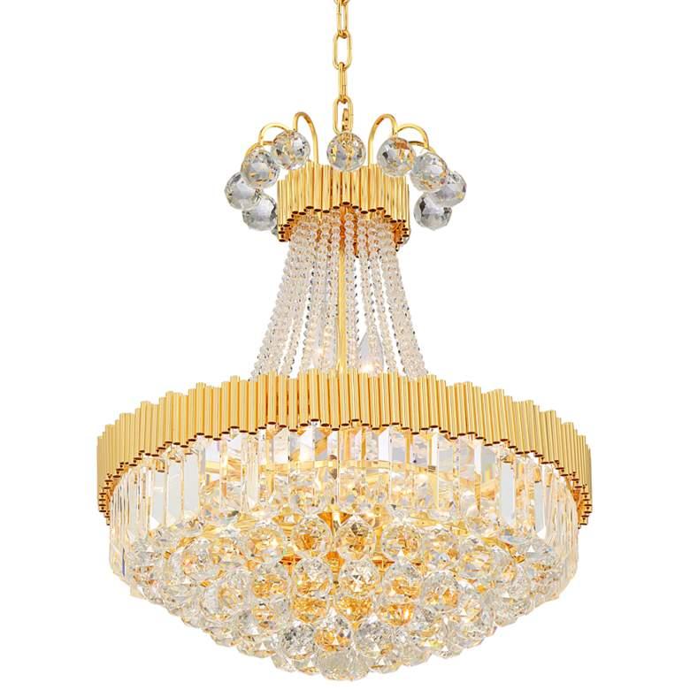 "Valentina 19 1/2"" Wide Gold and Crystal 10-Light Chandelier"