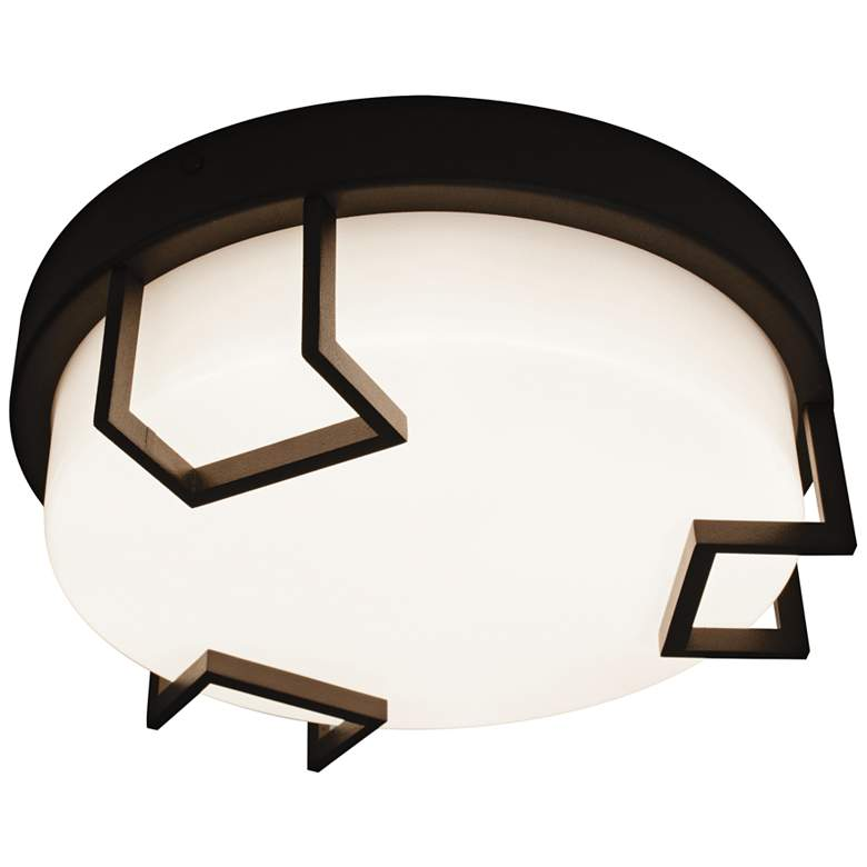 """Beaumont 12"""" Wide Textured Bronze LED Outdoor Ceiling Light"""