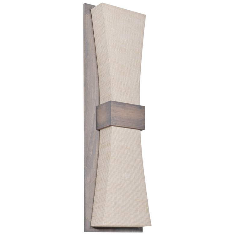 """Aberdeen 19"""" High Weather Gray LED Wall Sconce w/ Jute Shade"""