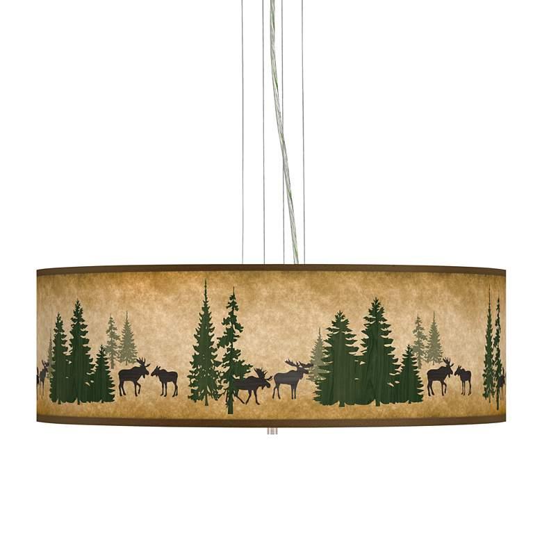 "Moose Lodge Giclee 24"" Wide 4-Light Pendant Chandelier"