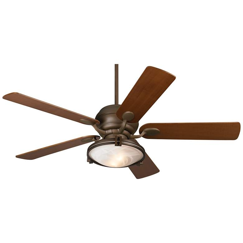 """52"""" Casa Optima Bronze and Alabaster Glass LED Ceiling Fan"""
