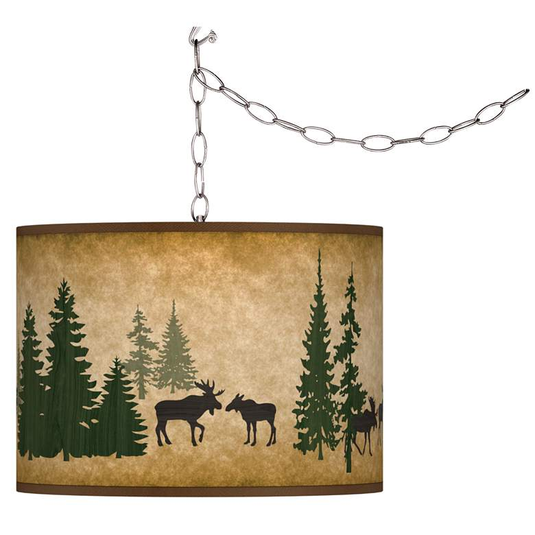 Moose Lodge Giclee Glow Plug-In Swag Pendant